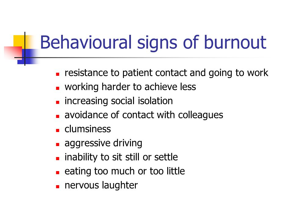 Behavioural signs of burnout resistance to patient contact and going to work working harder to achieve less increasing social isolation avoidance of c