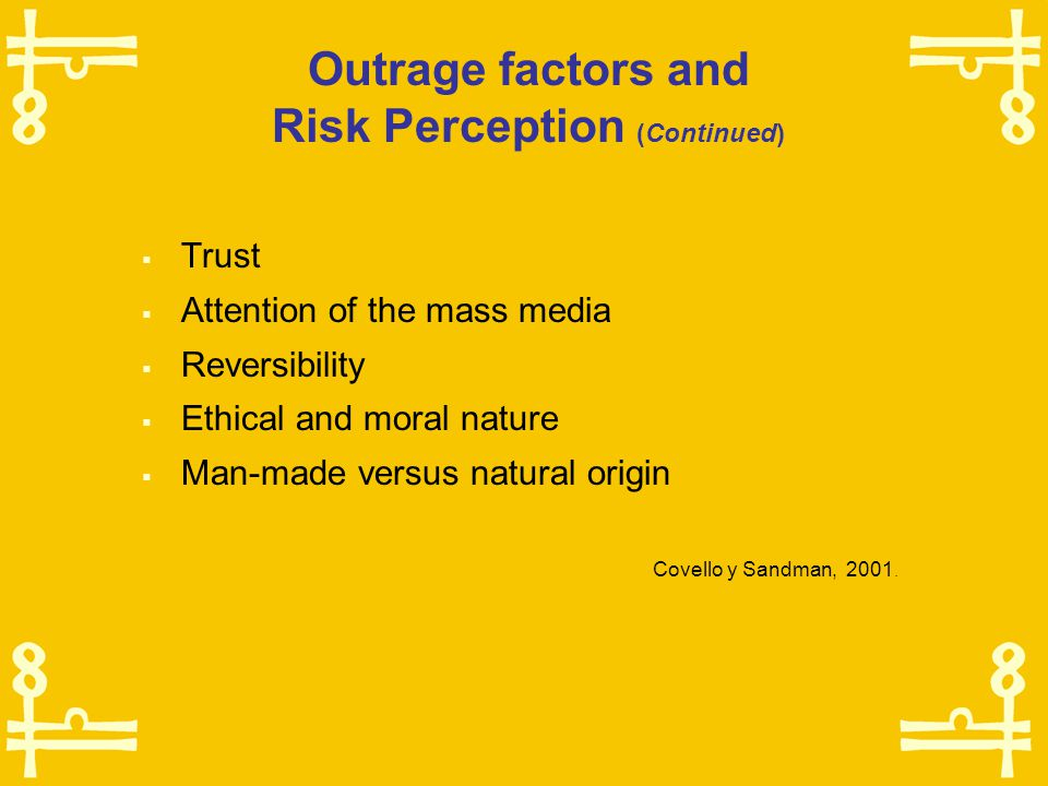 Outrage factors and Risk Perception  Comprehension  Uncertainty  Delayed effects  Effects on children  Effects on future generations  Dread