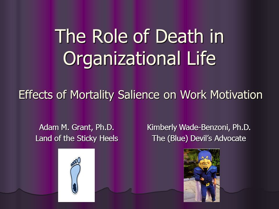 The Role of Death in Organizational Life Adam M. Grant, Ph.D.