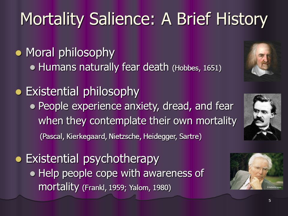 5 Mortality Salience: A Brief History Moral philosophy Moral philosophy Humans naturally fear death (Hobbes, 1651) Humans naturally fear death (Hobbes, 1651) Existential philosophy Existential philosophy People experience anxiety, dread, and fear People experience anxiety, dread, and fear when they contemplate their own mortality (Pascal, Kierkegaard, Nietzsche, Heidegger, Sartre) (Pascal, Kierkegaard, Nietzsche, Heidegger, Sartre) Existential psychotherapy Existential psychotherapy Help people cope with awareness of Help people cope with awareness of mortality (Frankl, 1959; Yalom, 1980)