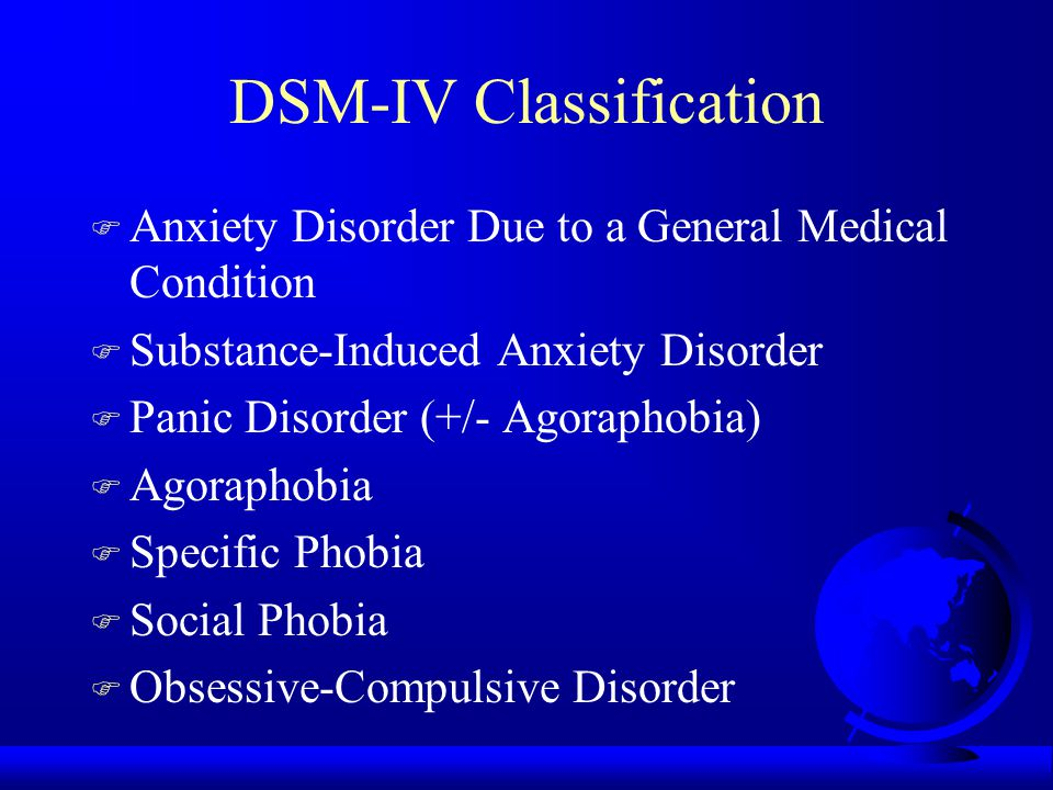 DSM-IV Classification F Anxiety Disorder Due to a General Medical Condition F Substance-Induced Anxiety Disorder F Panic Disorder (+/- Agoraphobia) F Agoraphobia F Specific Phobia F Social Phobia F Obsessive-Compulsive Disorder