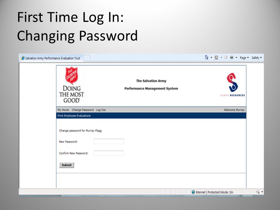 First Time Log In: Changing Password