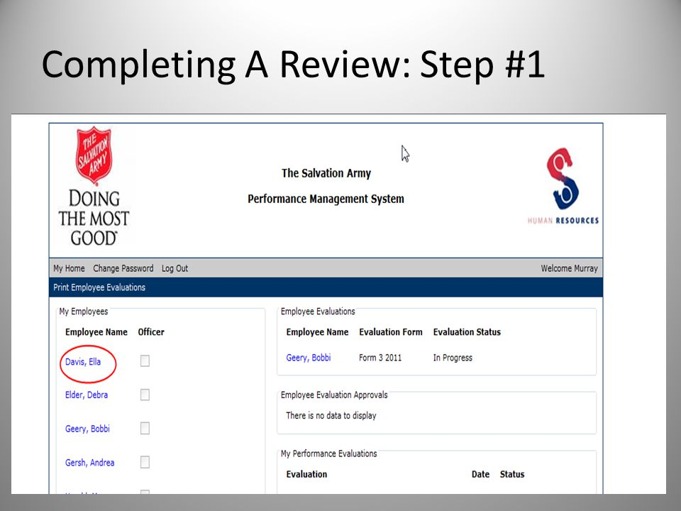 Completing A Review: Step #1