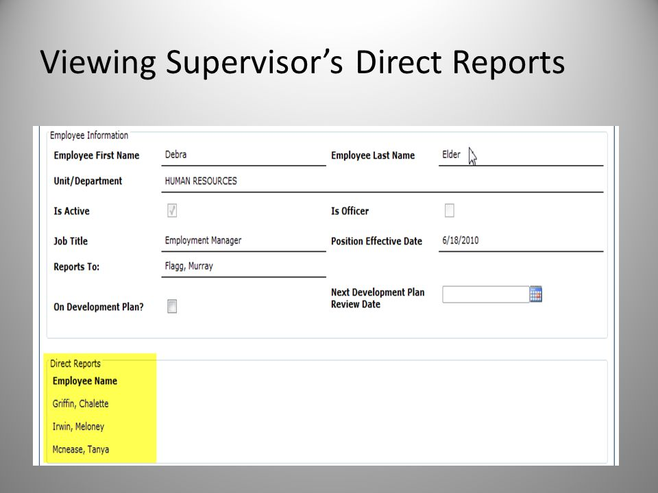 Viewing Supervisor's Direct Reports