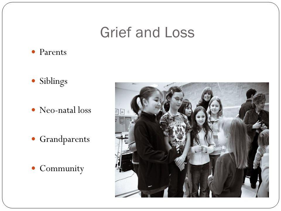 Grief and Loss Parents Siblings Neo-natal loss Grandparents Community
