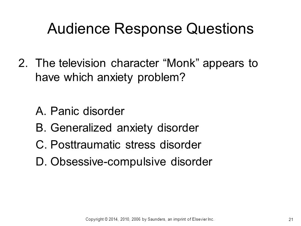 2.The television character Monk appears to have which anxiety problem.