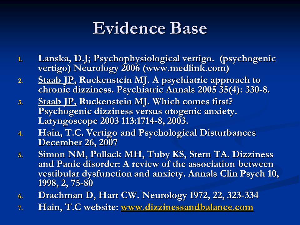 Evidence Base 1. Lanska, D.J; Psychophysiological vertigo.