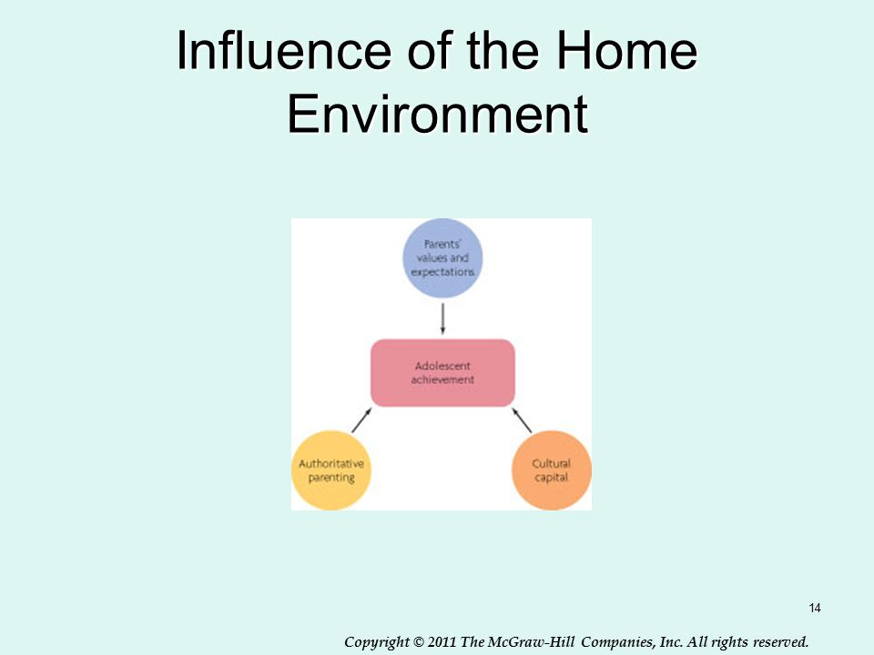 Copyright © 2011 The McGraw-Hill Companies, Inc. All rights reserved. Influence of the Home Environment 14