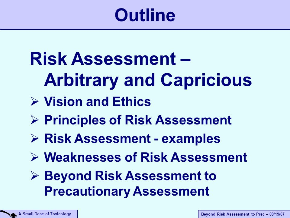 A Small Dose of Toxicology Beyond Risk Assessment to Prec – 09/19/07 Outline Risk Assessment – Arbitrary and Capricious  Vision and Ethics  Principles of Risk Assessment  Risk Assessment - examples  Weaknesses of Risk Assessment  Beyond Risk Assessment to Precautionary Assessment