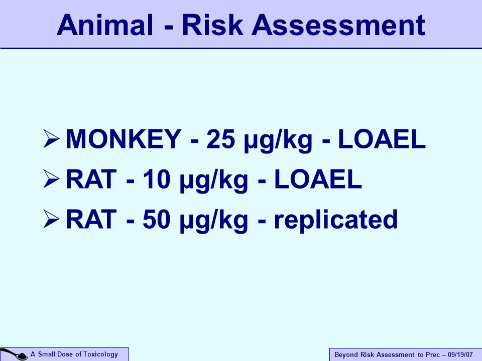 A Small Dose of Toxicology Beyond Risk Assessment to Prec – 09/19/07  MONKEY - 25 µg/kg - LOAEL  RAT - 10 µg/kg - LOAEL  RAT - 50 µg/kg - replicated Animal - Risk Assessment