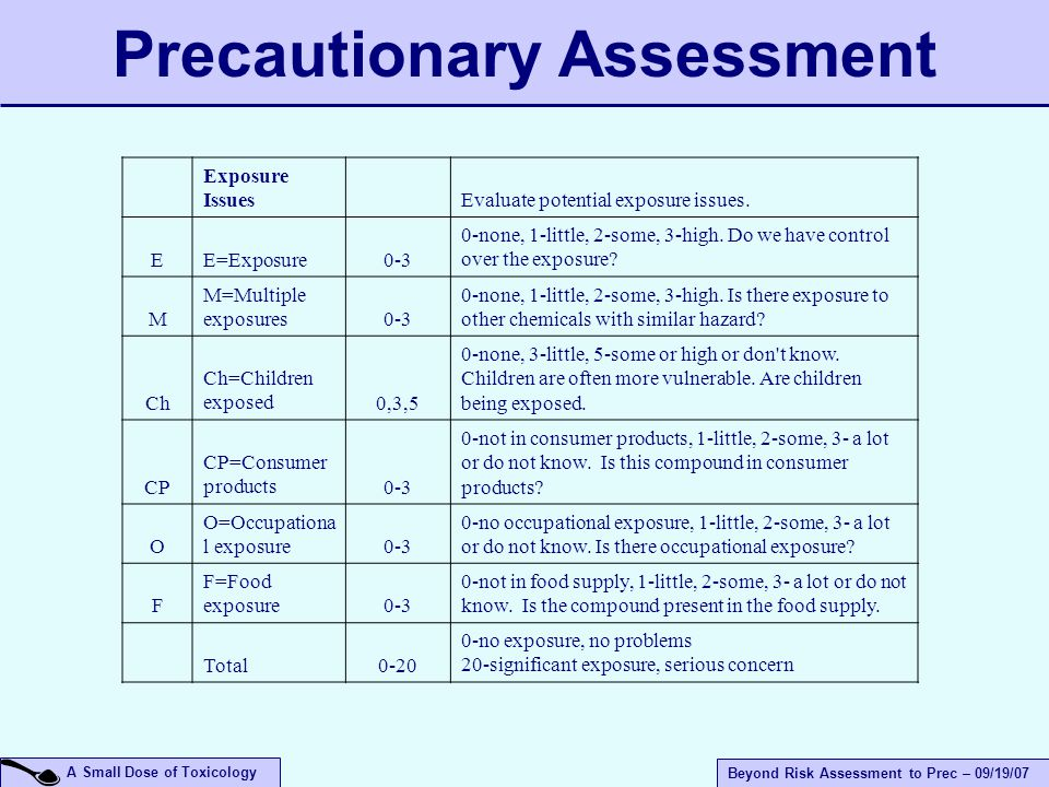 A Small Dose of Toxicology Beyond Risk Assessment to Prec – 09/19/07 Precautionary Assessment Exposure Issues Evaluate potential exposure issues.