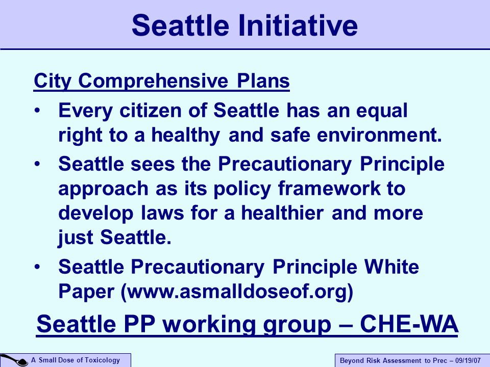 A Small Dose of Toxicology Beyond Risk Assessment to Prec – 09/19/07 City Comprehensive Plans Every citizen of Seattle has an equal right to a healthy and safe environment.