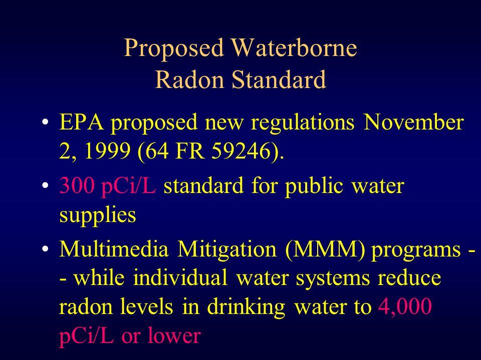 Proposed Waterborne Radon Standard EPA proposed new regulations November 2, 1999 (64 FR 59246). 300 pCi/L standard for public water supplies Multimedi