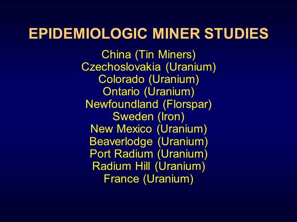 EPIDEMIOLOGIC MINER STUDIES China (Tin Miners) Czechoslovakia (Uranium) Colorado (Uranium) Ontario (Uranium) Newfoundland (Florspar) Sweden (Iron) New Mexico (Uranium) Beaverlodge (Uranium) Port Radium (Uranium) Radium Hill (Uranium) France (Uranium)