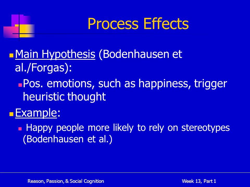 Reason, Passion, & Social Cognition Week 13, Part 1 Process Effects Main Hypothesis (Bodenhausen et al./Forgas): Pos.