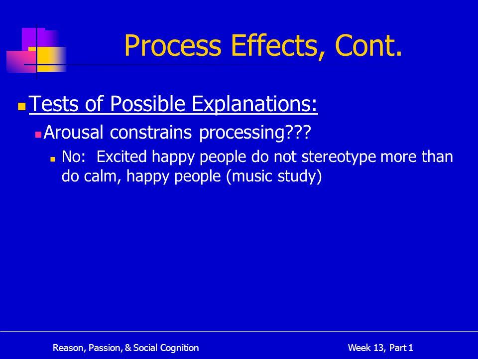 Reason, Passion, & Social Cognition Week 13, Part 1 Process Effects, Cont.
