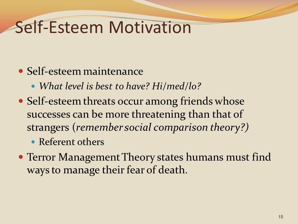 Self-Esteem Motivation Self-esteem maintenance What level is best to have.