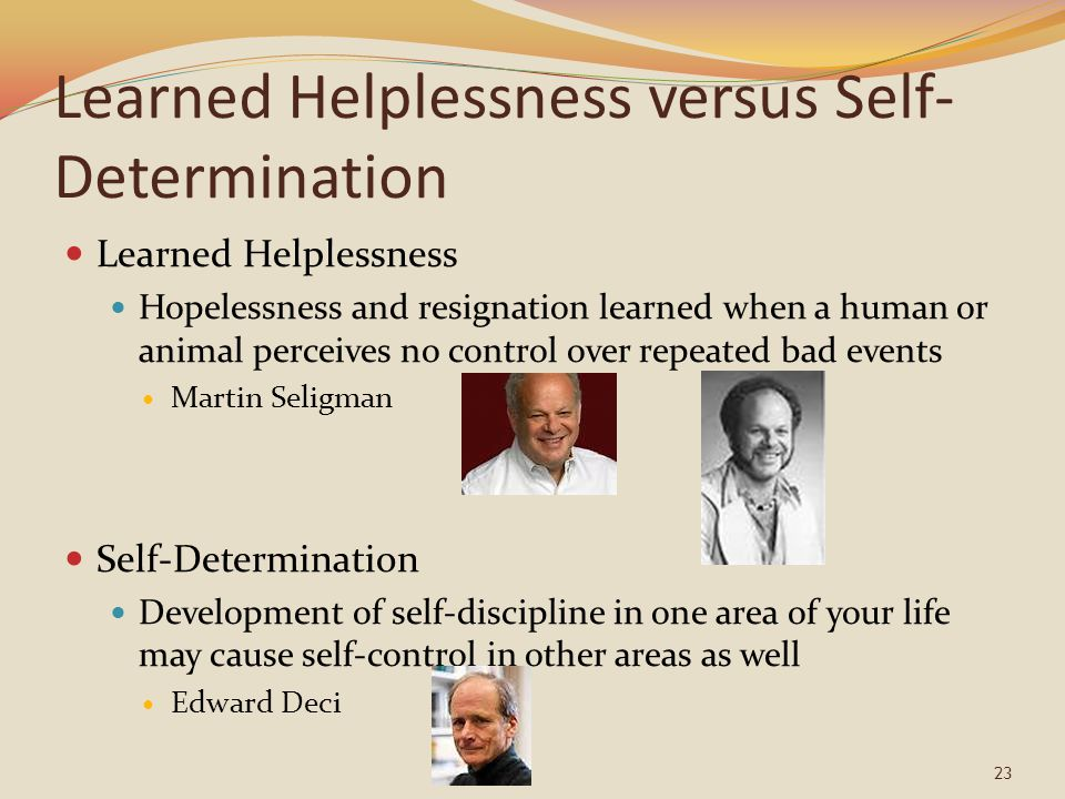 Learned Helplessness versus Self- Determination Learned Helplessness Hopelessness and resignation learned when a human or animal perceives no control