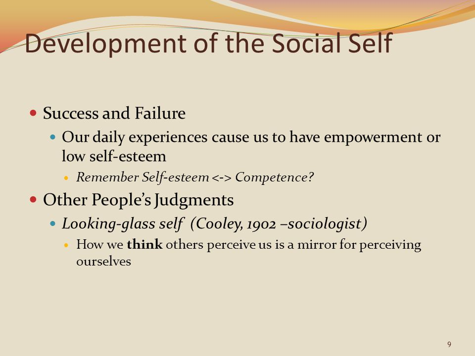 Development of the Social Self Success and Failure Our daily experiences cause us to have empowerment or low self-esteem Remember Self-esteem Competence.