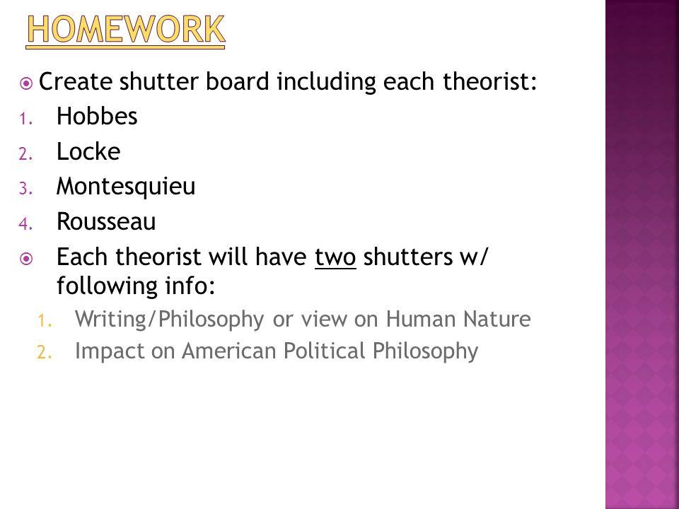  Create shutter board including each theorist: 1. Hobbes 2. Locke 3. Montesquieu 4. Rousseau  Each theorist will have two shutters w/ following info