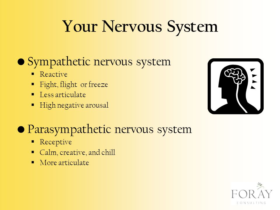 Your Nervous System Sympathetic nervous system  Reactive  Fight, flight or freeze  Less articulate  High negative arousal Parasympathetic nervous