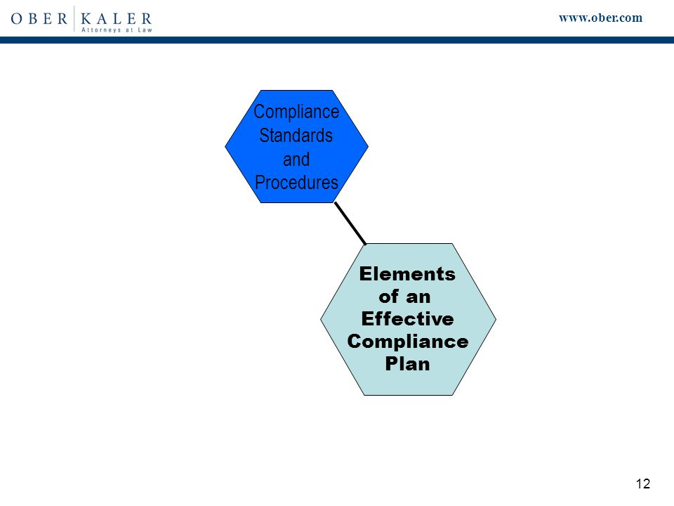 www.ober.com 12 Elements of an Effective Compliance Plan Compliance Standards and Procedures