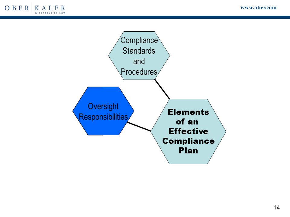 www.ober.com 14 Elements of an Effective Compliance Plan Compliance Standards and Procedures Oversight Responsibilities