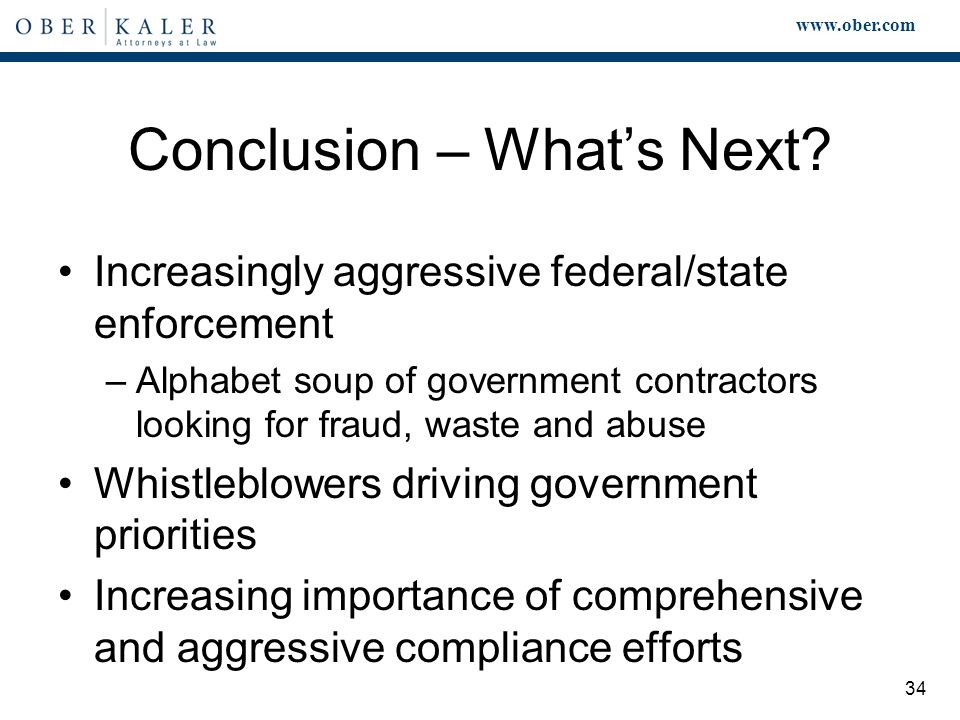 www.ober.com 34 Conclusion – What's Next.