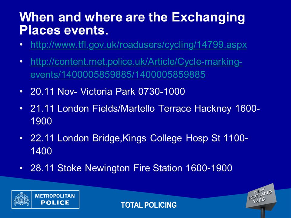 When and where are the Exchanging Places events.