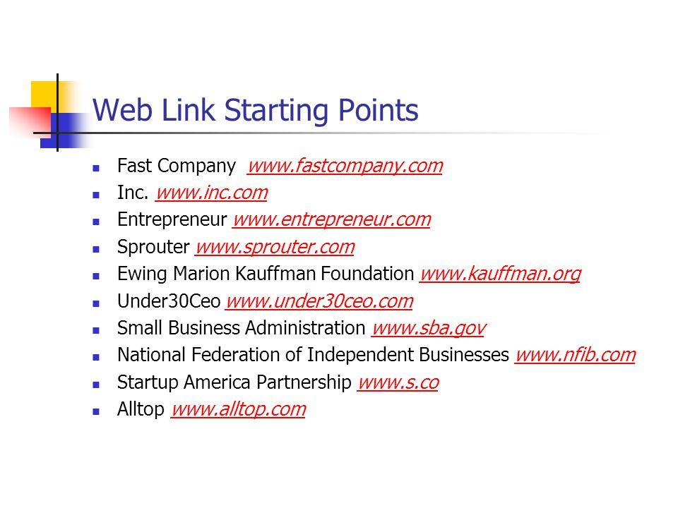 Web Link Starting Points Fast Company www.fastcompany.comwww.fastcompany.com Inc.