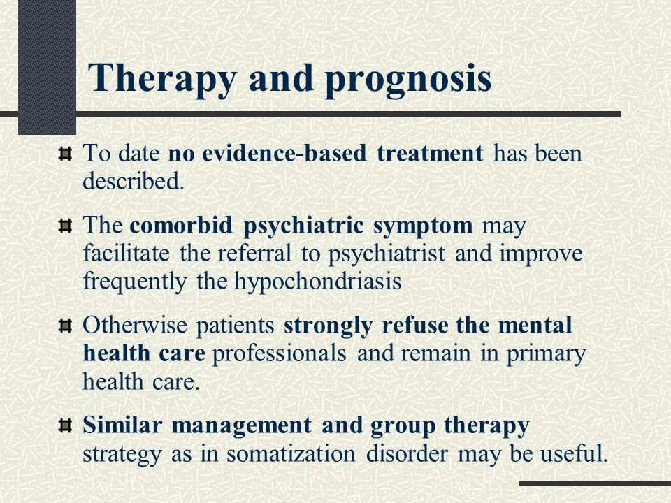 Therapy and prognosis To date no evidence-based treatment has been described.