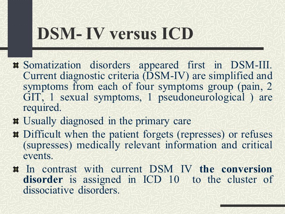 DSM- IV versus ICD Somatization disorders appeared first in DSM-III.