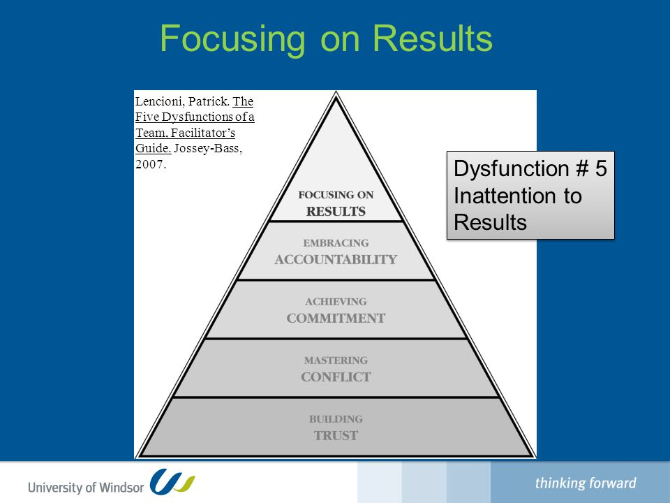 Focusing on Results Dysfunction # 5 Inattention to Results Dysfunction # 5 Inattention to Results Lencioni, Patrick.