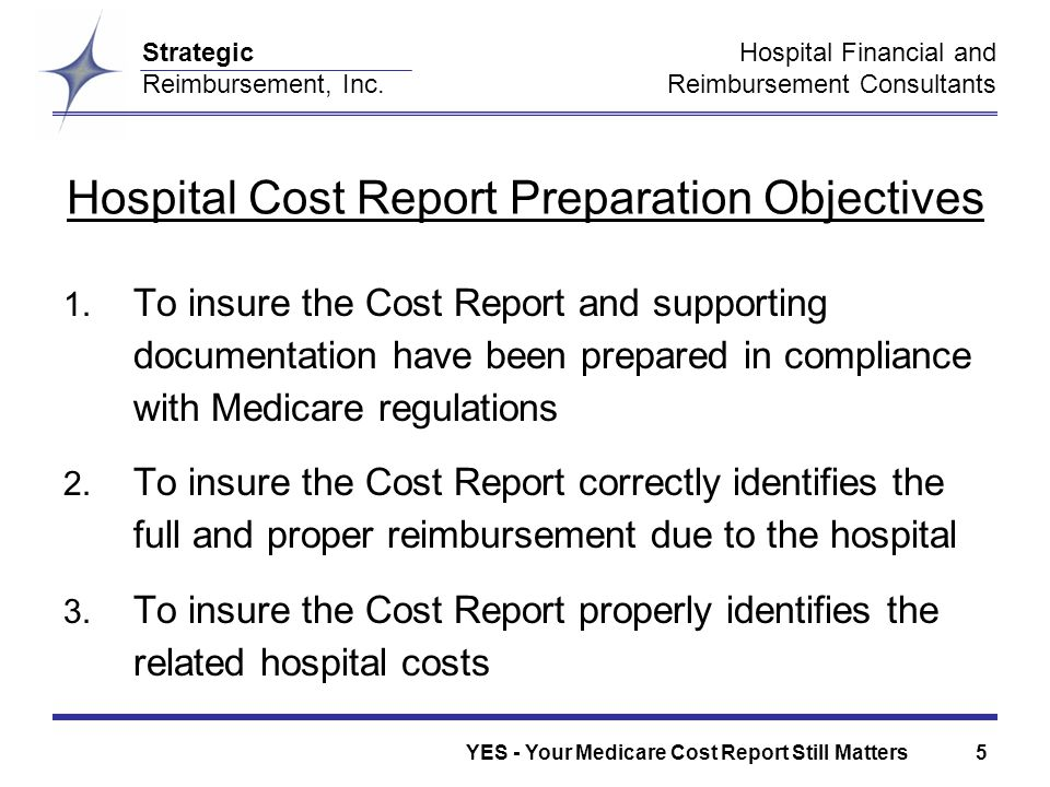 Hospital Financial and Reimbursement Consultants Strategic Reimbursement, Inc.