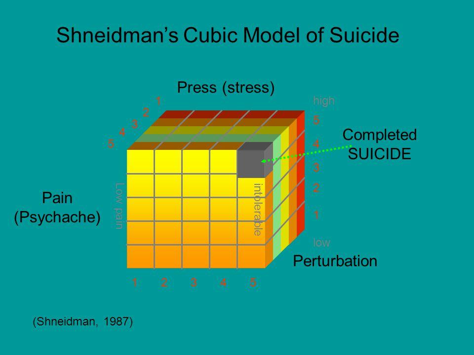 Shneidman's Cubic Model of Suicide (Shneidman, 1987) Pain (Psychache) Press (stress) low high intolerableLow pain Completed SUICIDE Perturbation 13452