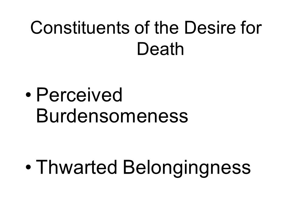 Constituents of the Desire for Death Perceived Burdensomeness Thwarted Belongingness