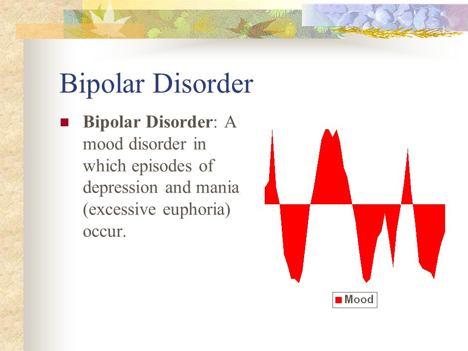Bipolar Disorder Bipolar Disorder: A mood disorder in which episodes of depression and mania (excessive euphoria) occur.