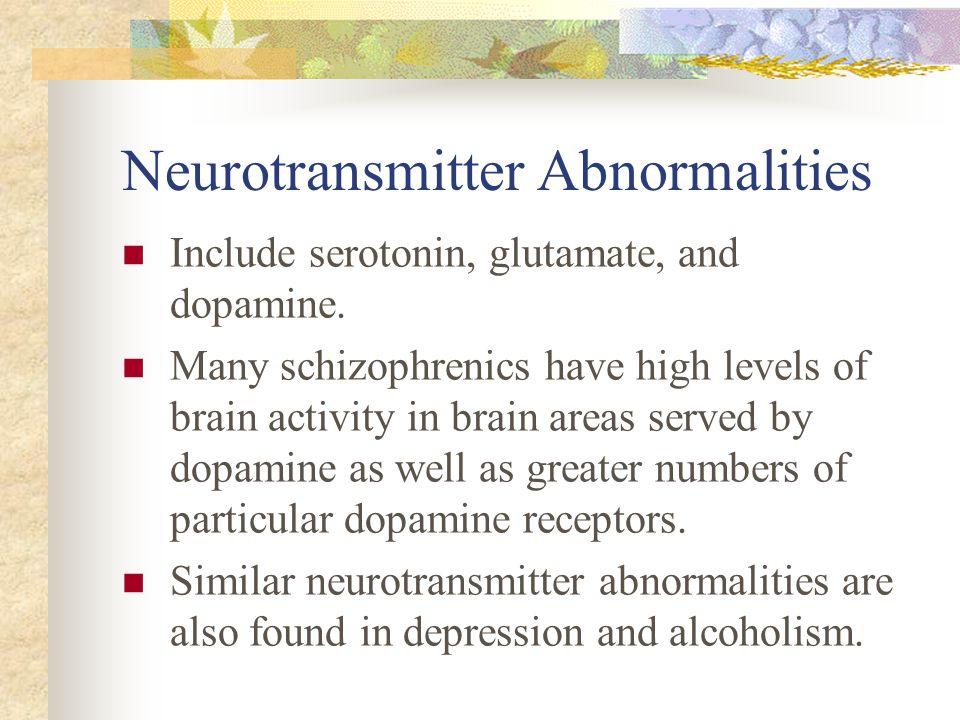 Neurotransmitter Abnormalities Include serotonin, glutamate, and dopamine. Many schizophrenics have high levels of brain activity in brain areas serve