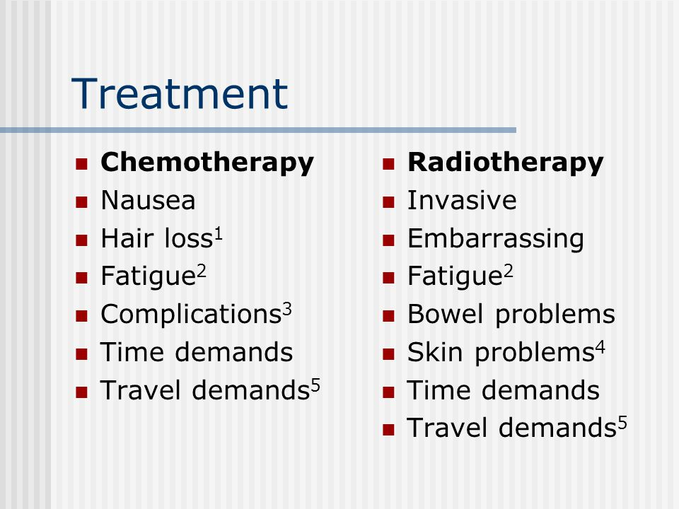 Treatment Chemotherapy Nausea Hair loss 1 Fatigue 2 Complications 3 Time demands Travel demands 5 Radiotherapy Invasive Embarrassing Fatigue 2 Bowel problems Skin problems 4 Time demands Travel demands 5