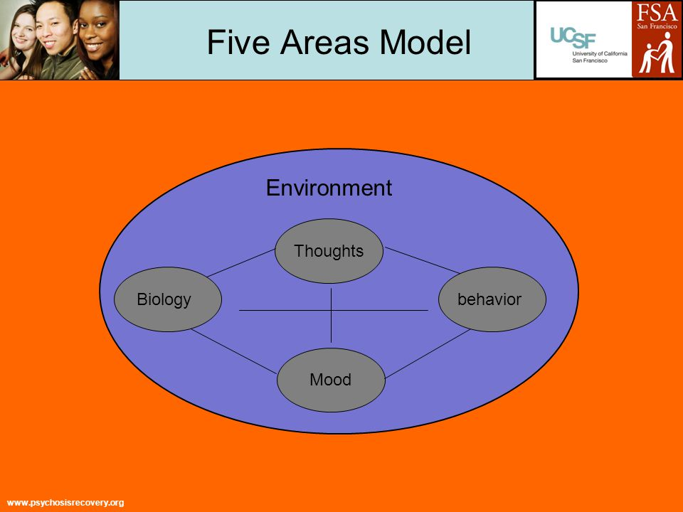 www.psychosisrecovery.org Five Areas Model Environment Biology Thoughts behavior Mood