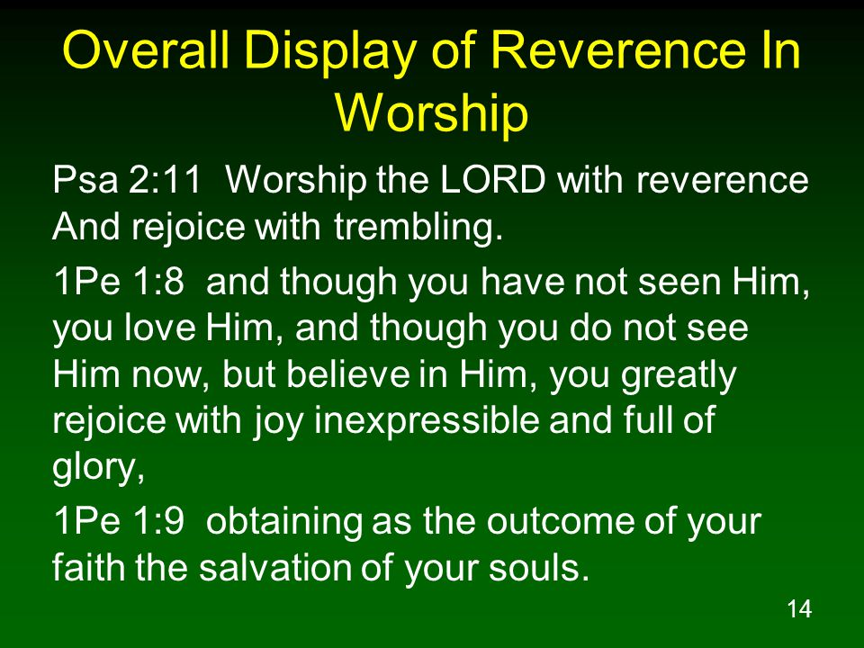 14 Overall Display of Reverence In Worship Psa 2:11 Worship the LORD with reverence And rejoice with trembling.