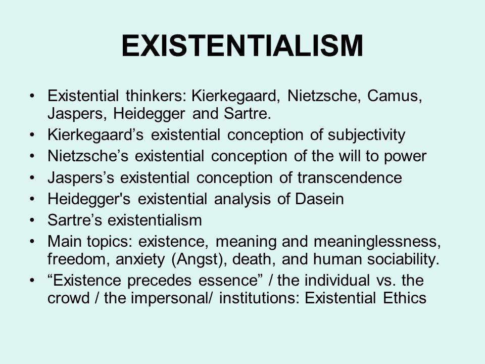 EXISTENTIALISM Existential thinkers: Kierkegaard, Nietzsche, Camus, Jaspers, Heidegger and Sartre. Kierkegaard's existential conception of subjectivit