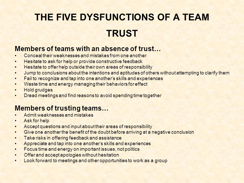 THE FIVE DYSFUNCTIONS OF A TEAM TRUST Members of teams with an absence of trust… Conceal their weaknesses and mistakes from one another Hesitate to ask for help or provide constructive feedback Hesitate to offer help outside their own areas of responsibility Jump to conclusions about the intentions and aptitudes of others without attempting to clarify them Fail to recognize and tap into one another's skills and experiences Waste time and energy managing their behaviors for effect Hold grudges Dread meetings and find reasons to avoid spending time together Members of trusting teams… Admit weaknesses and mistakes Ask for help Accept questions and input about their areas of responsibility Give one another the benefit of the doubt before arriving at a negative conclusion Take risks in offering feedback and assistance Appreciate and tap into one another's skills and experiences Focus time and energy on important issues, not politics Offer and accept apologies without hesitation Look forward to meetings and other opportunities to work as a group