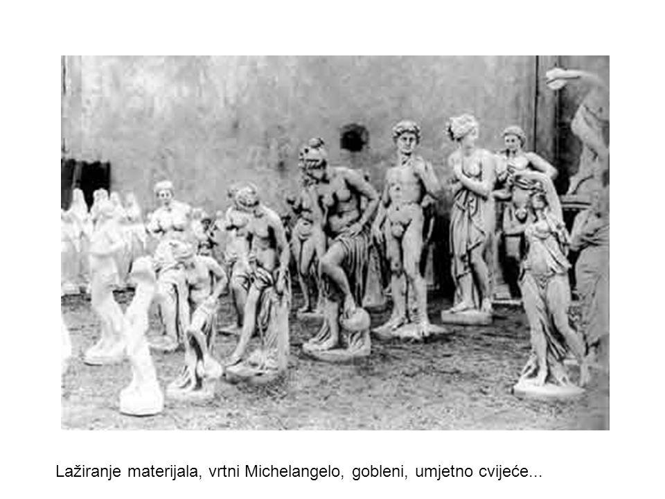 Lažiranje materijala, vrtni Michelangelo, gobleni, umjetno cvijeće...