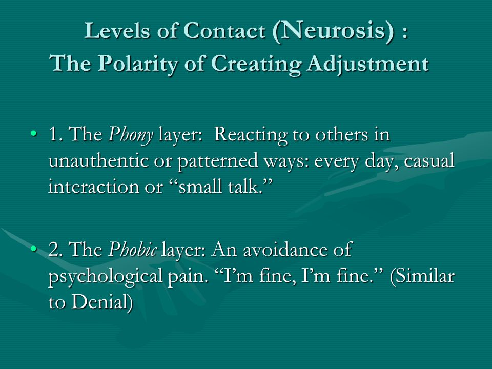 Levels of Contact (Neurosis) : The Polarity of Creating Adjustment 1.