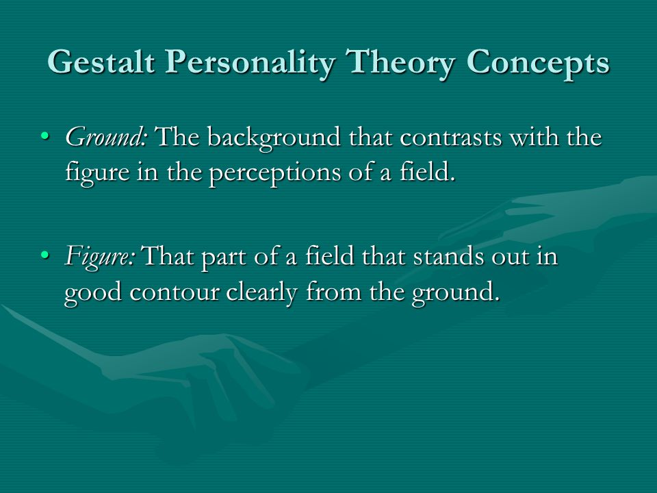 Gestalt Personality Theory Concepts Ground: The background that contrasts with the figure in the perceptions of a field.Ground: The background that contrasts with the figure in the perceptions of a field.