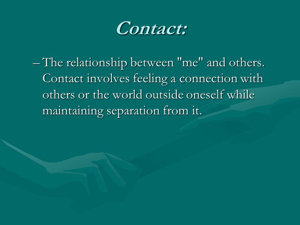 Contact: –The relationship between