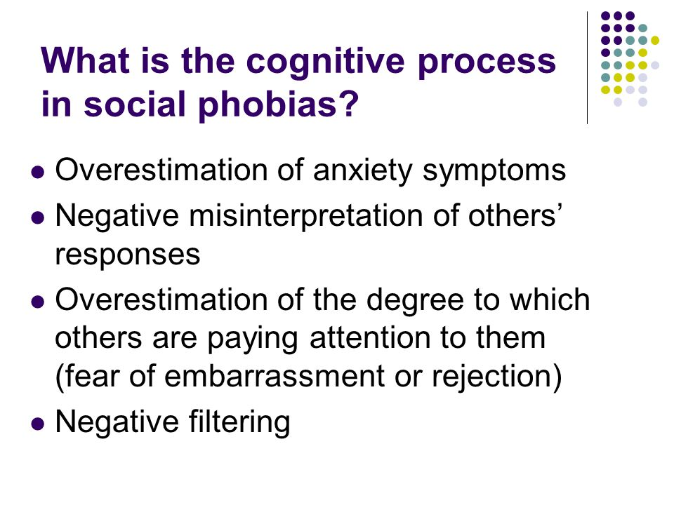 What is the cognitive process in social phobias.