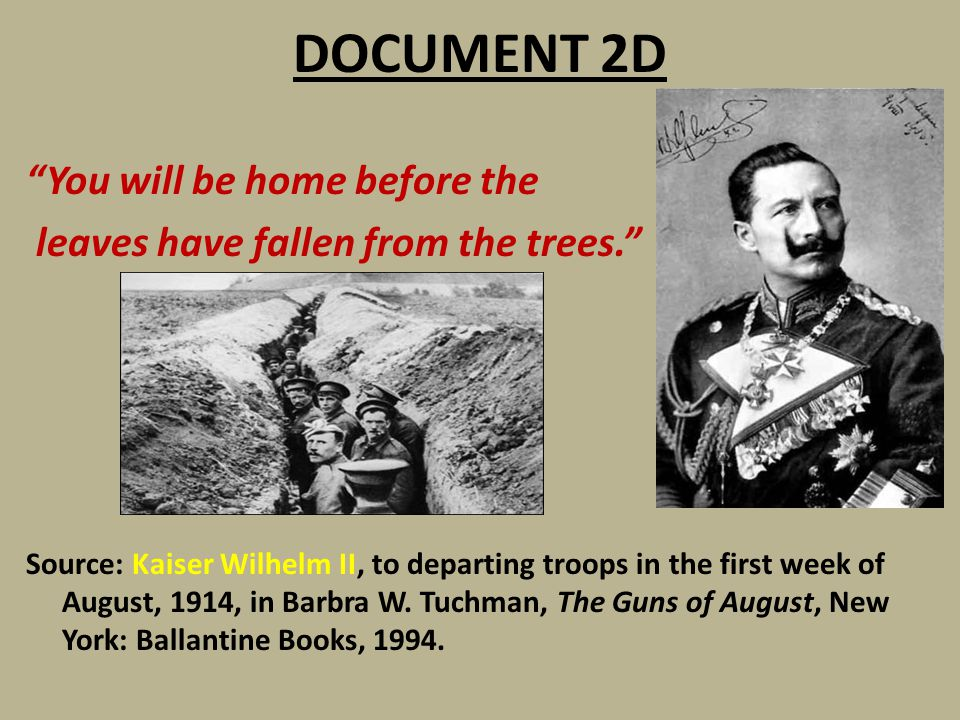 """DOCUMENT 2D """"You will be home before the leaves have fallen from the trees."""" Source: Kaiser Wilhelm II, to departing troops in the first week of Augus"""