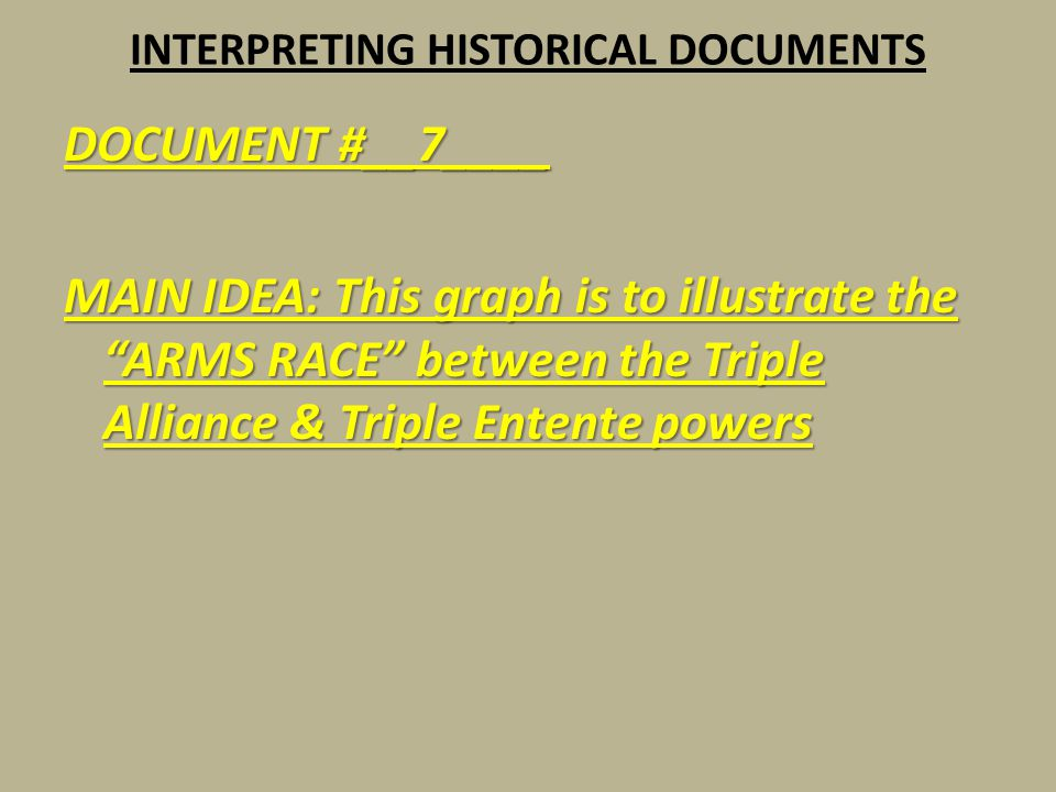 """INTERPRETING HISTORICAL DOCUMENTS DOCUMENT #__7____ MAIN IDEA: This graph is to illustrate the """"ARMS RACE"""" between the Triple Alliance & Triple Entent"""